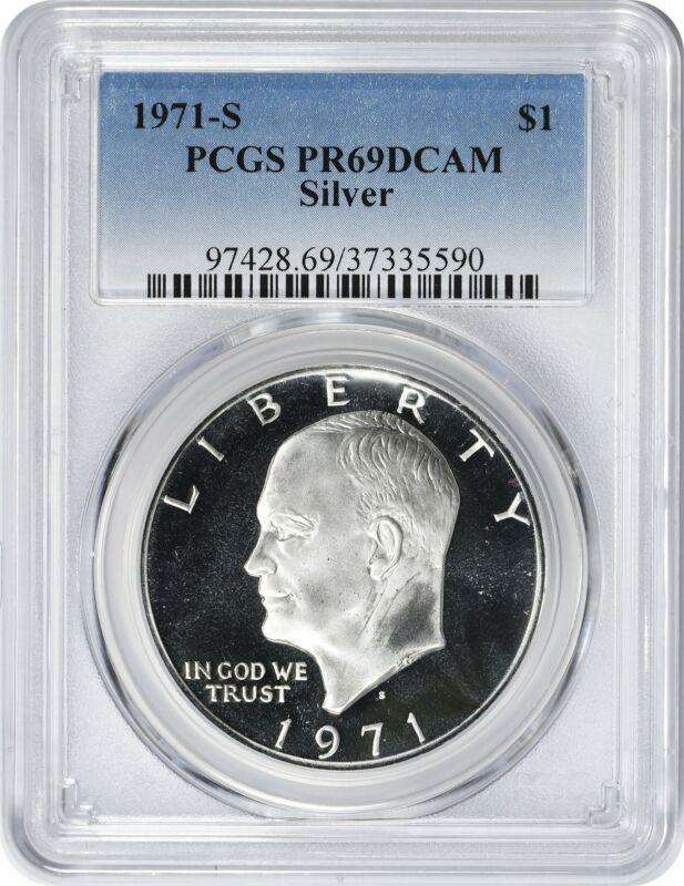 1971-S Silver Eisenhower Ike Dollar PR69DCAM PCGS Proof 69 Deep Cameo