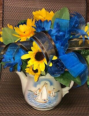Yellow Sunflowers Sailboats Racing Pitcher Blue Flowers Silk Flower Arrangement Flower Arrangements Sunflowers