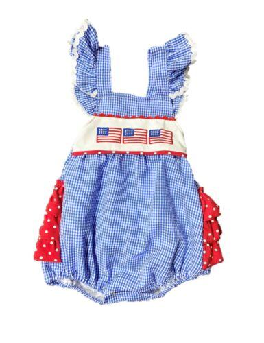 Baby Girl Patriotic Seersucker Romper USA Romper 4th of July Romper Red White
