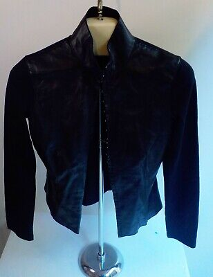 BEBE Leather and Jersey Hook and Eye Closure Cropped Jacket Black SZ SMALL
