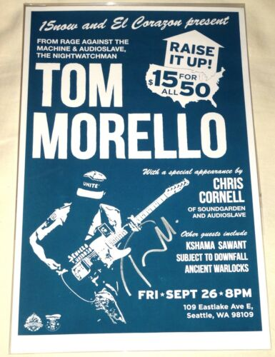 TOM MORELLO CHRIS CORNELL SIGNED AUTOGRAPHED SEATTLE CONCERT POSTER! RARE! PROOF