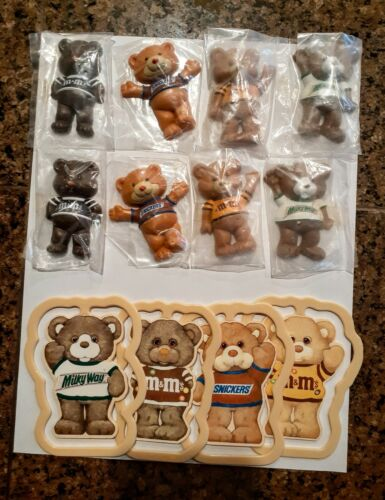 Lot of 8 1987 Mars Candy Bear Magnets NIP and 4 Book Clips