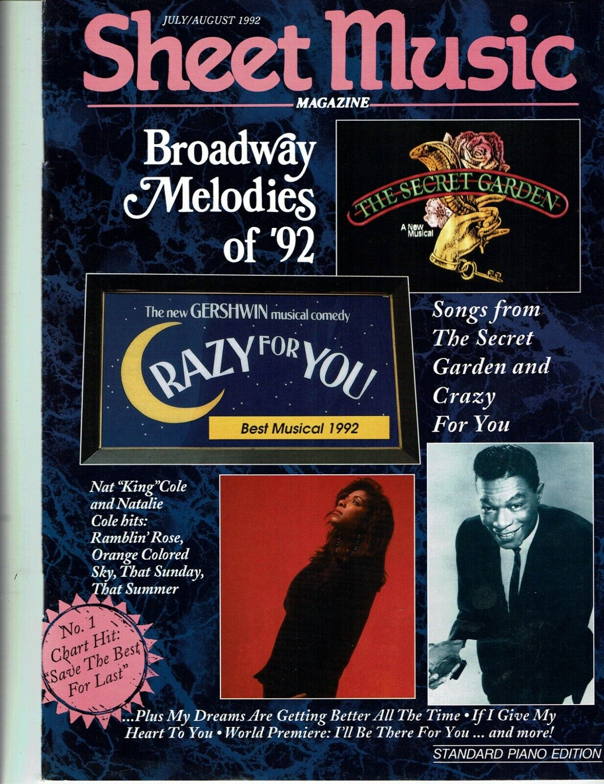 July/August 1992 Sheet Music Magazine - Broadway Melodies Of 92 Nat King Cole - $0.99