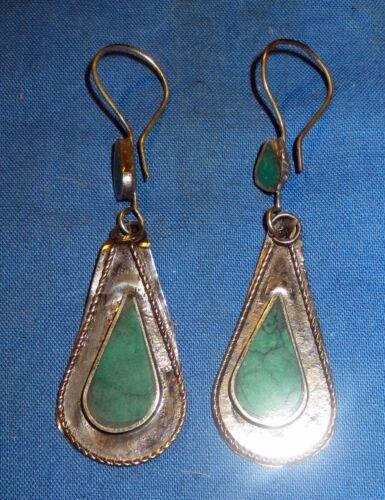 "Earrings Teardrop Malachite or Turquoise Afghan Kuchi Tribal Alpaca 1 1/4"""