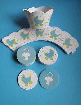 Baby Junge Geburt - 12 Cupcake Wrapper + 12 Topper - Muffinformen - Muffin