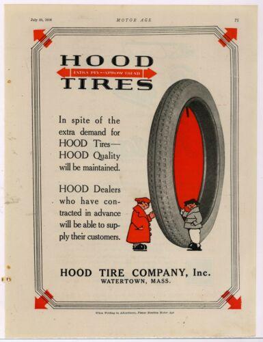 1916 Hood Tire Company Ad: Extra Ply Arrow Tread - Watertown, New York