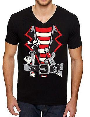 PIRATE HALLOWEEN COSTUME MEN V-NECK Shirt Halloween Party Pirate Man T-shirt