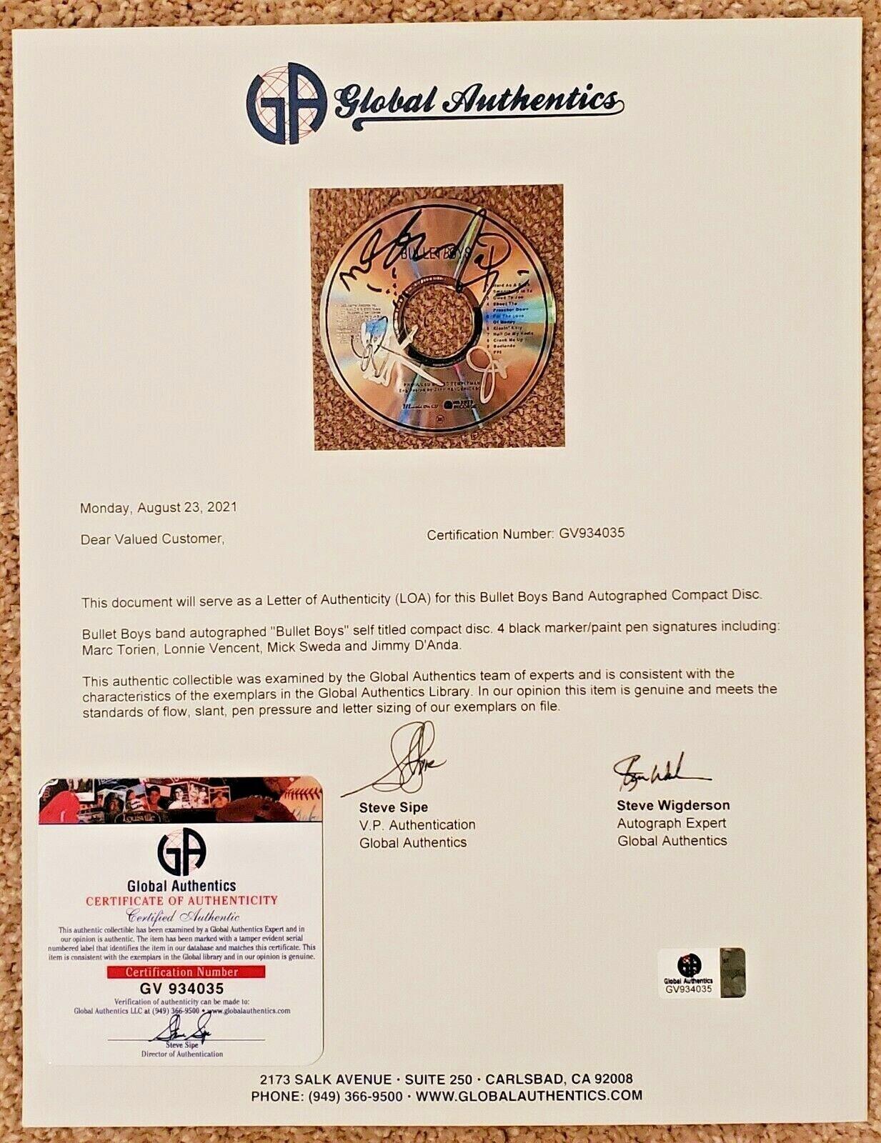 Bullet Boys Signed Self Titled Auto CD GAI LOA Marc Torien, Lonnie Vencent 2 - $149.99