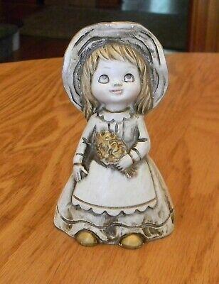VTG Tan Gold Gilt Bonnet Floppy Hat Flower Girl Ceramic Wolin Japan Figurine -