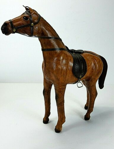 Antique LEATHER WRAPPED Horse Toy Figurine with Glass Eyes