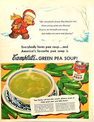 Vintage 1951 Campbell's soup kid winter pea soup advertisement print ad art