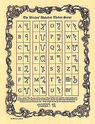 Witches Alphabet Theban Script Poster Book of Shadows Page Wiccan Pagan Witch