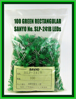 100 Green Rectangular Leds Sanyo No. Slp-241b In Sealed Bag Factory Fresh