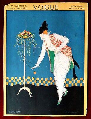 Vogue Magazine Original Cover Only ~ April 15, 1914 ~ Steinmetz