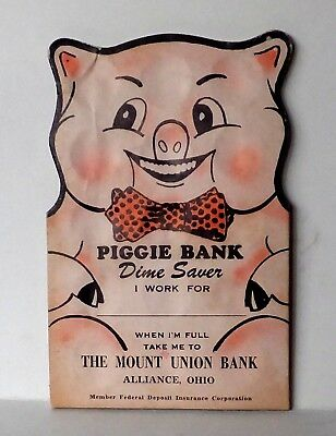 Vintage  Piggie Bank Dime Saver The Mount Union Bank Alliance  Oh Copy  1954