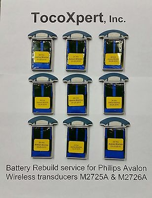 Hp Philips Avalon Wireless Fetal Toco Transducer M2725a - Oem Battery Rebuild