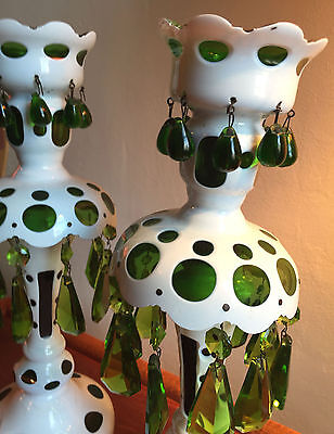 RARE Double Row BOHEMIAN CZECH Cased Cut Glass WHITE TO GREEN 2 Mantle Lustres