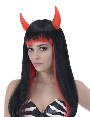 Langhaar Perücke in Schwarz und Rot für alle weiblichen Teufel Cod.79805 ()