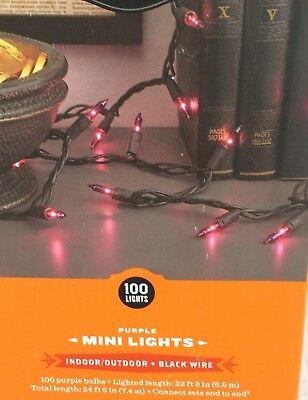 100 MINI PURPLE STRING LIGHTS INDOOR/OUTDOOR 24' HOUSE, TREES, HALLOWEEN