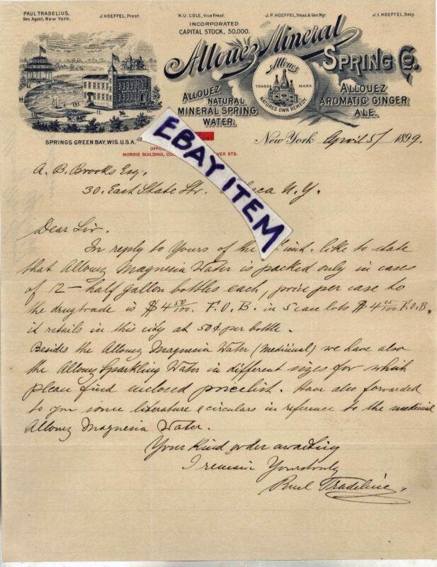 1899 LETTERHEAD Allouez Mineral Spring NEW YORK Tradelius HoeffeL GREEN BAY WIS