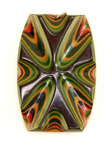 Mid Century Japanese Iro-Urushi 40+ Layer Lacquer Camo Bakelite Modern Pendant