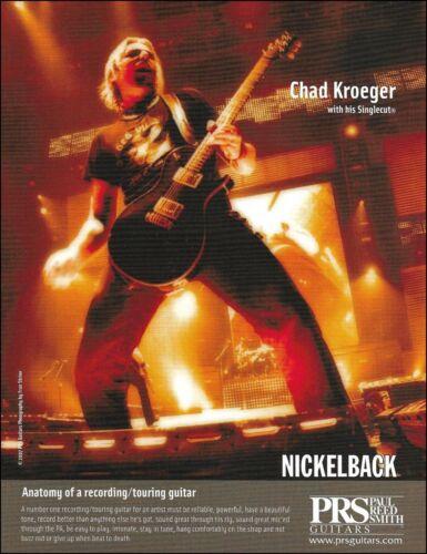 Nickelback Chad Kroeger 2007 PRS Singlecut guitar ad 8 x 11 advertisement print