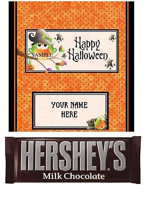 Halloween Candy Bar Labels (Halloween Party Favor Owl Candy Bar Wrappers)