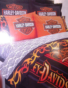 HARLEY-DAVIDSON-7PC-QUEEN-BEDDING-COMBO-4-MOTORCYCLES-BIKERS-RIDERS-JACKETS-PIN