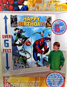 SPIDERMAN-GIANT-SCENE-SETTER-DECORATION-Super-Hero-Birthday-Party-Supplies