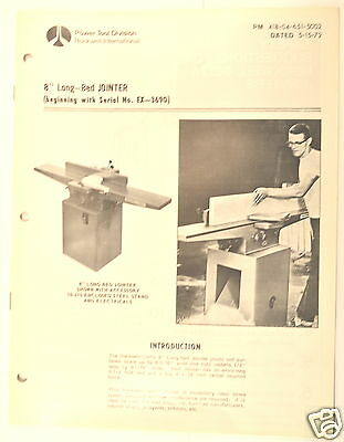 Rockwell 8 Long-bed Jointer Manual Beginning With Serial Ex-3690 Parts List