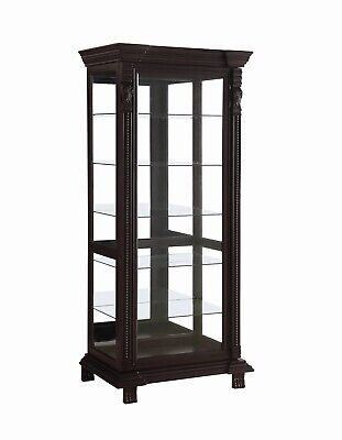 Traditional Wood and Glass Curio Cabinet / Espresso Brown / 5 Adjustable Shelves Traditional Curio Cabinets