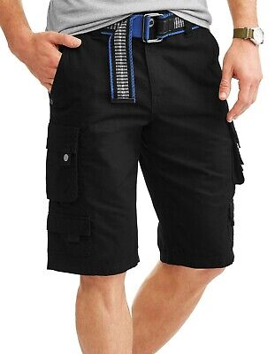 Cotton Ripstop Shorts - Mens Lazer Belted Cargo Shorts Black Ripstop Stacked 100% Cotton Size 32-40