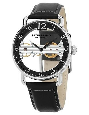 Stuhrling Men's Exposed Bridge Mechanical Skeleton Dial Black Dress Watch 976.01