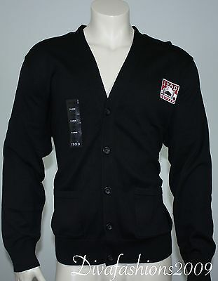 NEW Izod Center Black Sweater Cotton Men V-Neck Cardigan Shirt Sz XL Extra Large