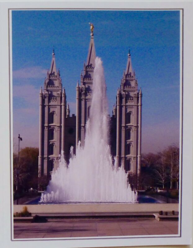 Note Cards Featuring L.D.S. Temple with Foutain Salt Lake City High Gloss