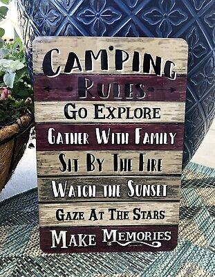 Camping Rules Metal Sign -Camping Sign - Camper Sign - Outdoor Sign - Home Decor](Outdoor Home Decor)