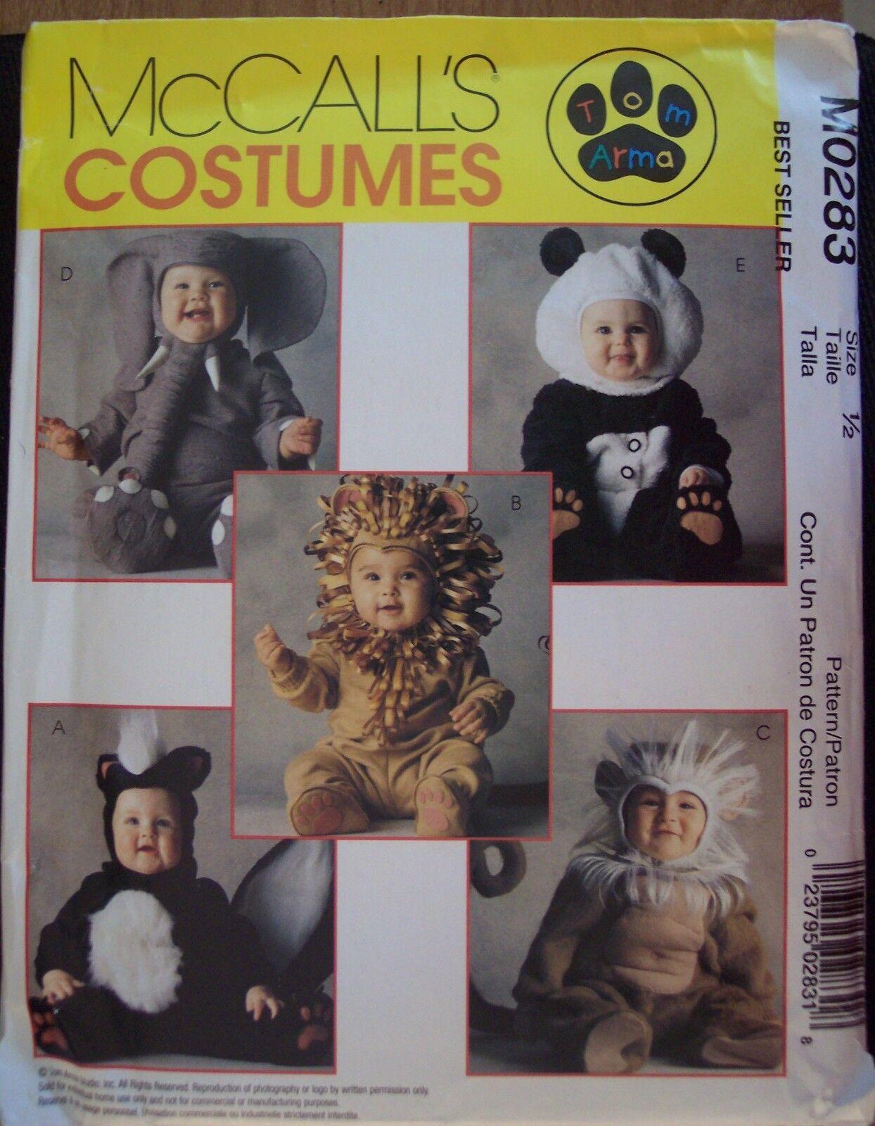McCalls Costumes Pattern 283 TODDLER 1/2 Panda Skunk Lion Elephant Monkey UNCUT  - $9.99