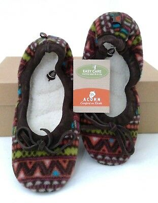 ACORN POLAR BALLET BATIK Slippers Brown Furpa Lined Womens Size 5 to 6 Small - Polar Slippers