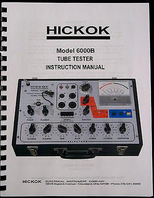 Usa True Hickok 6000b Dynamic Tube Tester Complete Instruction Manual