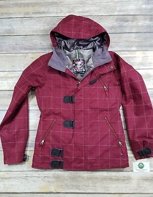 747fa9657 Burton Women's DryRide Dream Jacket Red Plaid Snowboard Insulated Coat  Medium