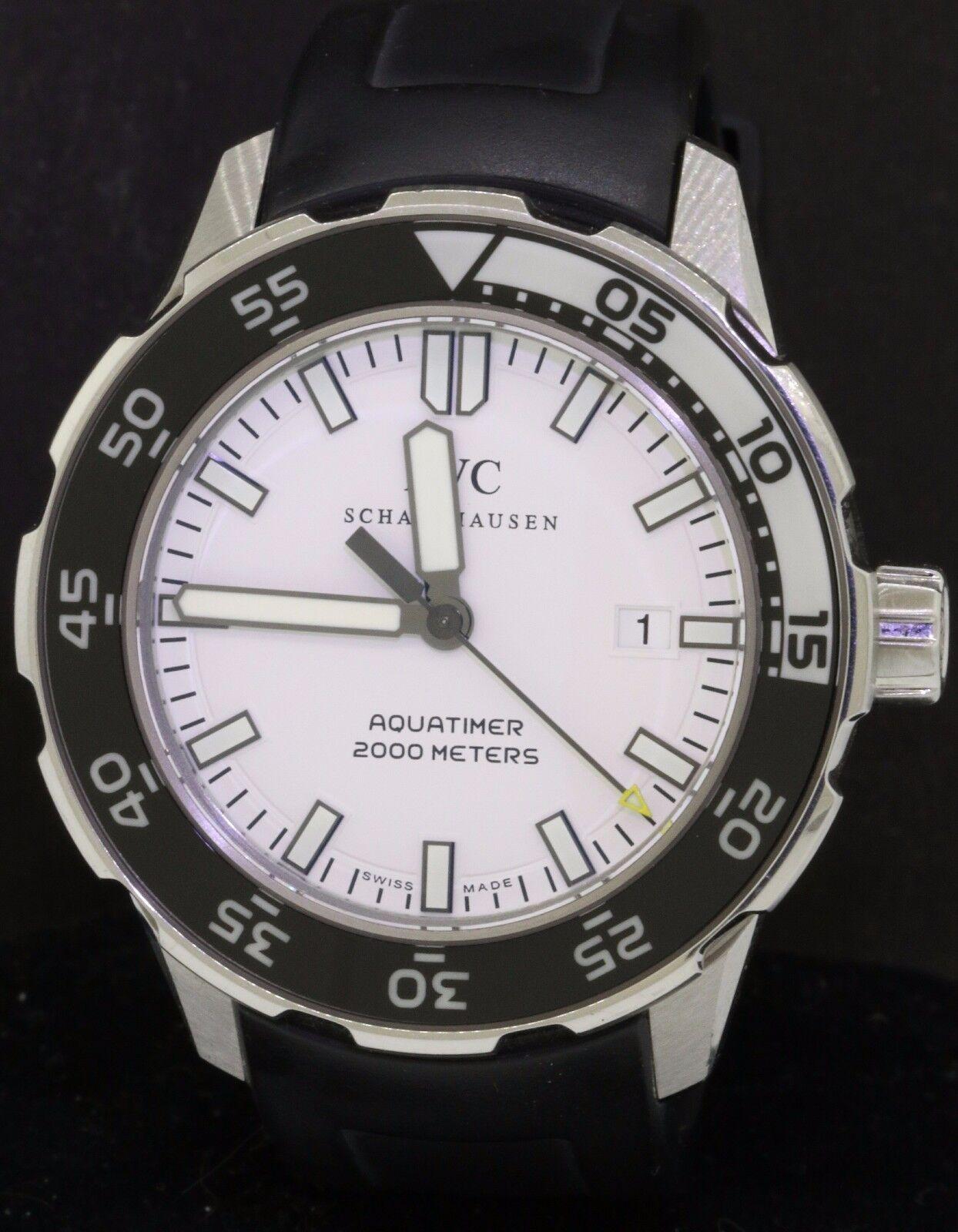 IWC Aquatimer Schaffhausen 2000m SS 46mm auto. men's watch w/ date & white dial - watch picture 1