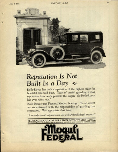 1924 Federal Mogul Advertisement: Rolls Royce Auto Featured Prominently