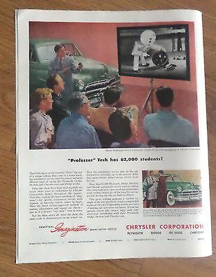 1950 Chrysler Ad Professor Tech has 62,000 Students New Talking Film