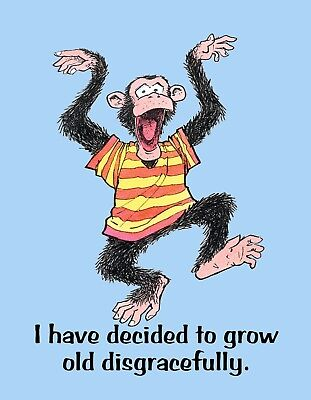 METAL REFRIGERATOR MAGNET Monkey Grow Old Disgracefully Family Friend Humor for sale  Shipping to India