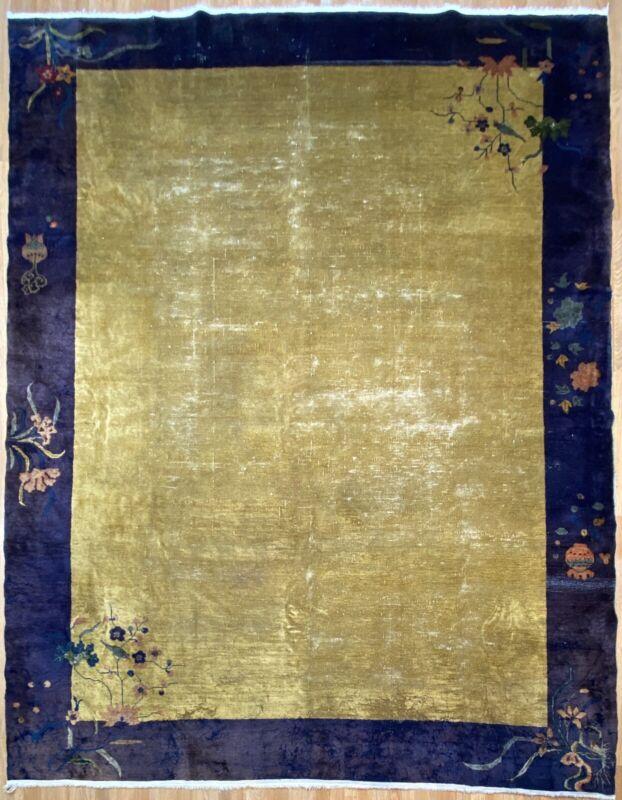 Antique Art Deco - 1930s Art Nouveau Rug - Chinese Oriental Carpet - 9.4 X 11.3