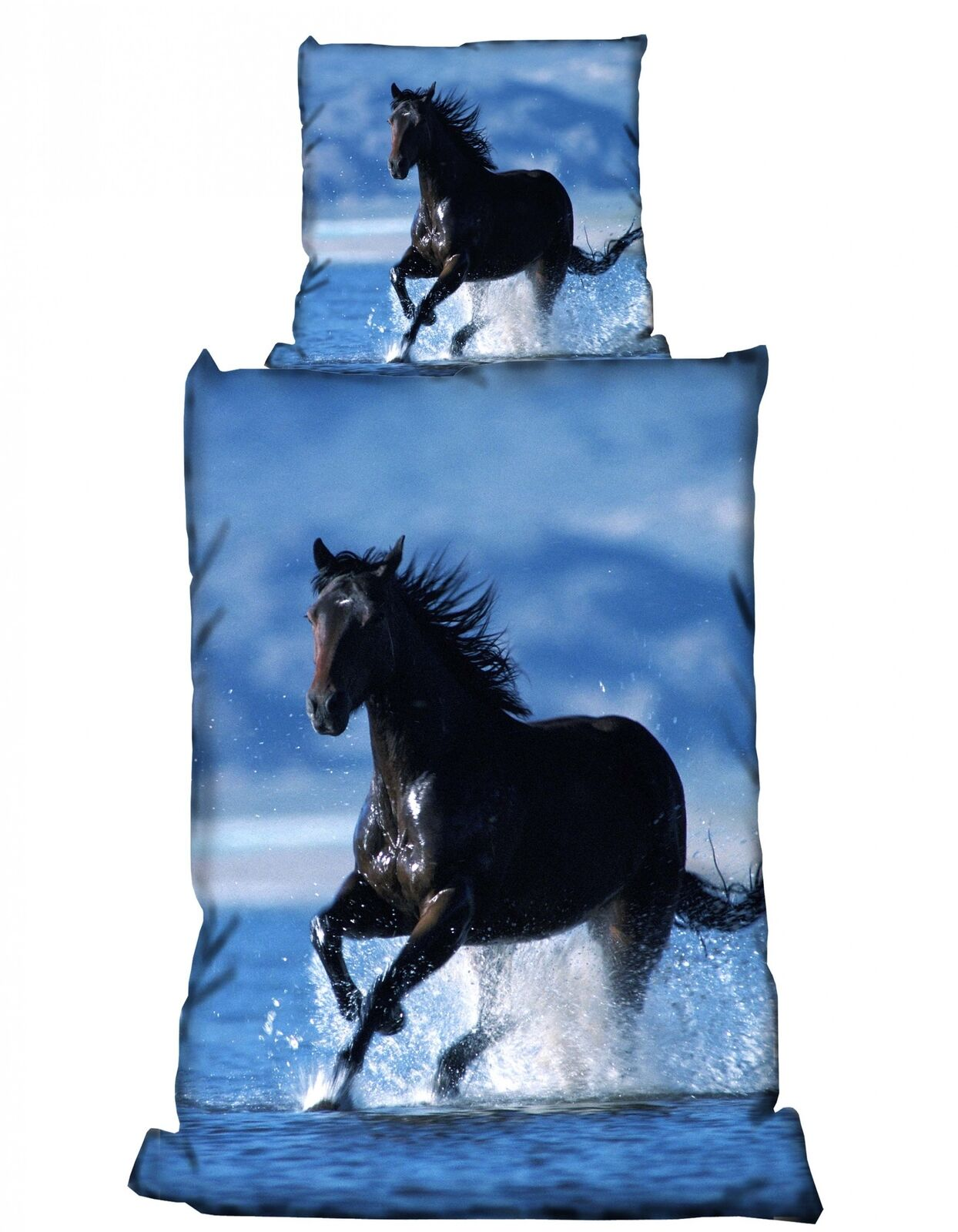 2 tlg Bettwäsche 135 x 200 cm Pferd schwarz blau Microfaser Garnitur