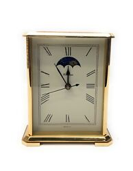 Vintage Chelsea Moon Phase Hermle Quartz 2100 Brass Heavy Mantel / Desk Clock