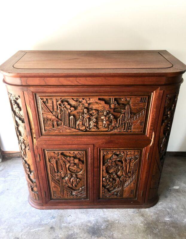 Antique/Vintage Carved Asian Wood Pull Out/Drop Leaf Bar Cabinet/Buffet. 50s