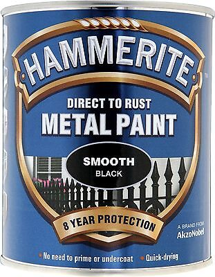 Hammerite Paint Smooth Black Direct To Rust Metal Paint 750ml