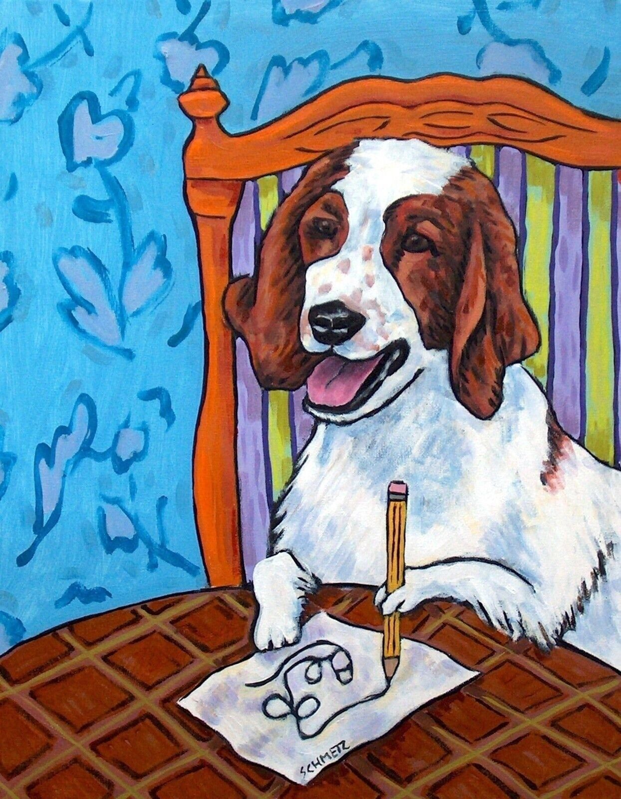 WINE art with husky dog  poster gift modern folk art 4x6   GLOSSY PRINT